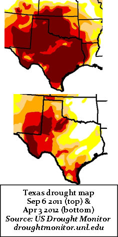 Texas drought maps