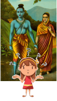 Child bewildered by Rama Sita